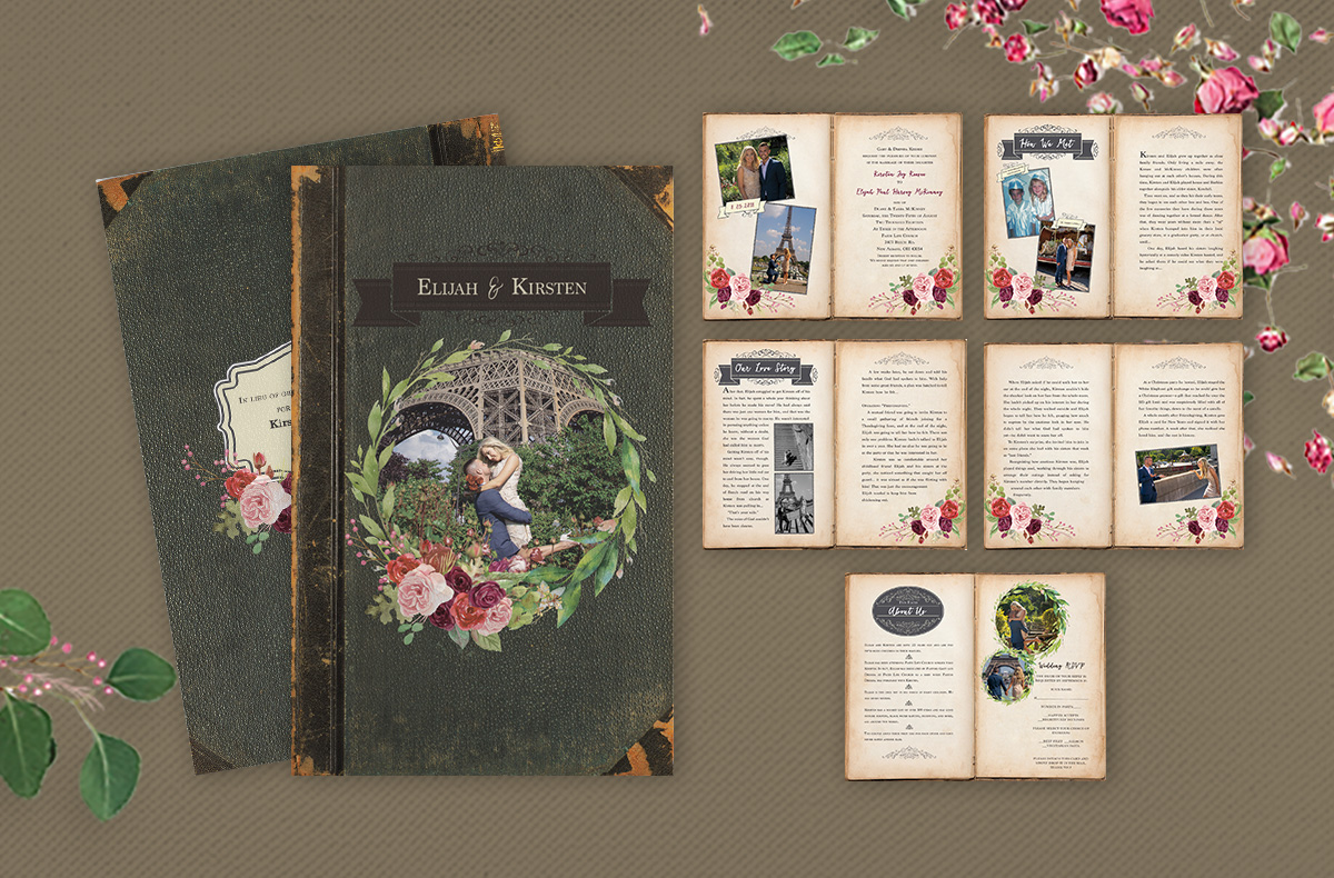 book style booklet invitations
