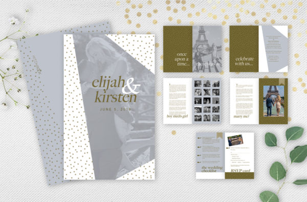 Gold booklet invitation