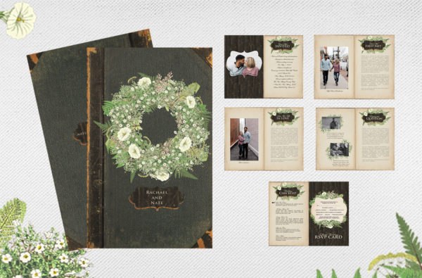 Fern booklet wedding invitations