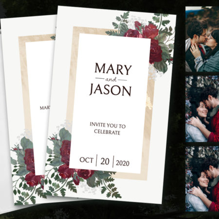 Burgundy and Gold Floral Hitchbook (Booklet Invitation)