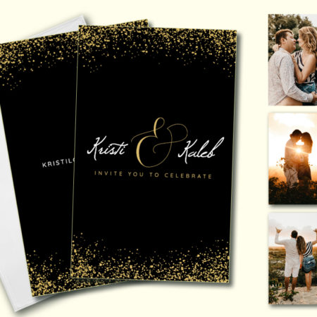 Gold Glitter Bomb Hitchbook (Booklet Invitation)