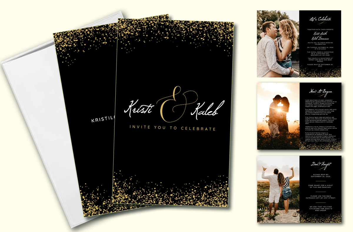 Black Gold Wedding Invitation
