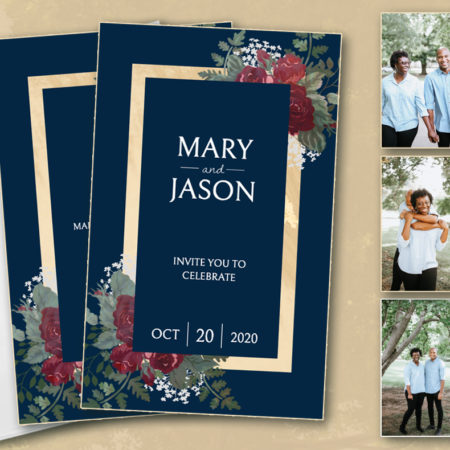 Navy and Gold Floral Hitchbook (Booklet Invitation)